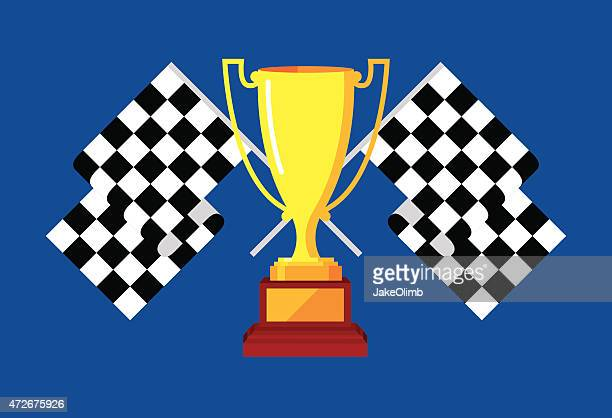 trophy with checkered race flags - go carting stock illustrations, clip art, cartoons, & icons
