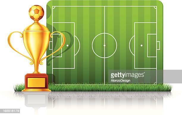 ilustrações, clipart, desenhos animados e ícones de troféu de futebol/campo de futebol - trophy