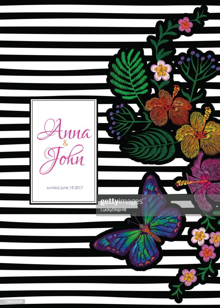 tropic butterfly greeting card template black white striped frame