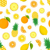 Tropic fruit pattern. Color background with lemon, pineapples, oranges. Vector illustration