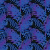 Tropic leaves background with neon colors. Tropical jungle palm leaf seamless pattern