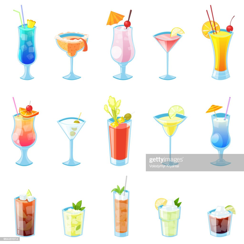 Tropical alcohol cocktails vector illustration. Set of isolated beverages and drinks icons