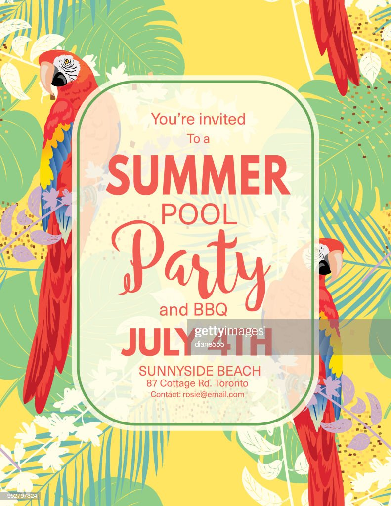 Tropical Background Pool Party Invitation Vector Art   Getty Images