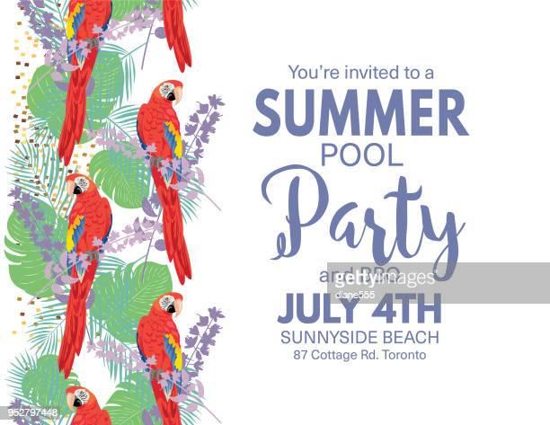 ilustraciones, imágenes clip art, dibujos animados e iconos de stock de invitación fiesta de la piscina de fondo tropical - pool party