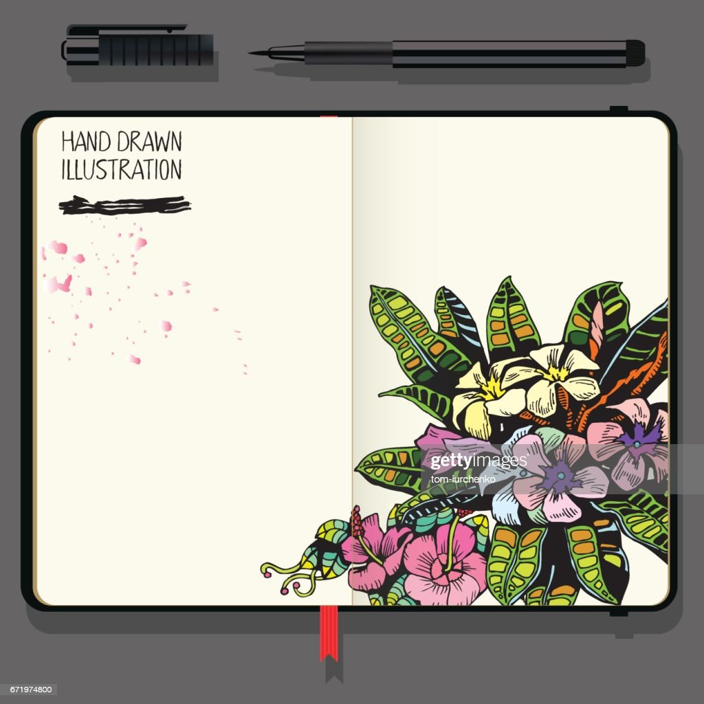 Tropical Background with Exotic Flowers and Leaf. Vector Notebooks with Fine Liner Pen.