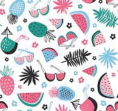 Tropical background with exotic  fruit and leaves. Vector illustration.