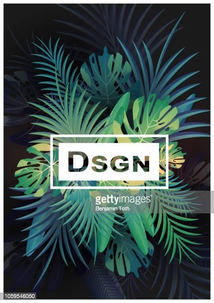 illustrations, cliparts, dessins animés et icônes de fond tropicale avec des plantes de jungle - tropical