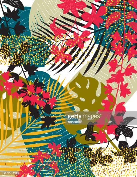 illustrations, cliparts, dessins animés et icônes de fond tropical avec des feuilles et des paillettes d'or - flore