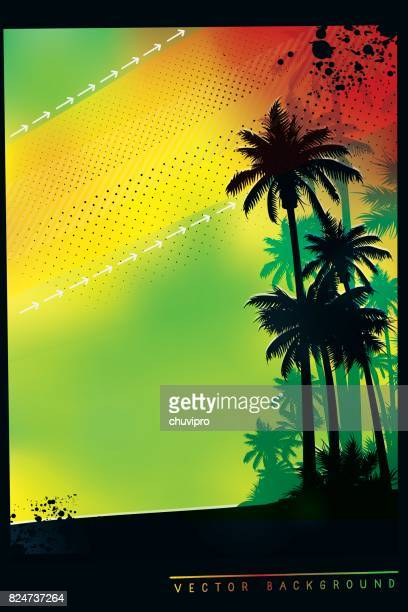 tropical background with palm trees in colors of jamaica flag - jamaica stock illustrations