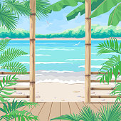 Tropical Background with Terrace on Sea Coast.