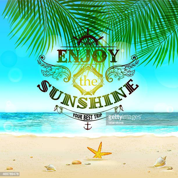 tropical background with text element - seascape stock illustrations, clip art, cartoons, & icons