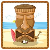 Tropical background with tribal Tiki mask
