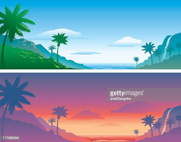 tropical backgrounds - water fall hawaii stock illustrations