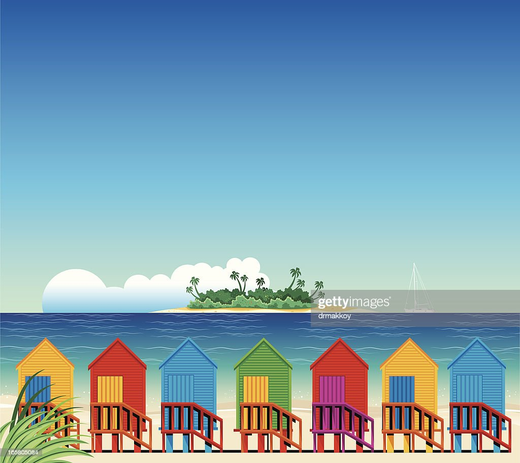 Tropical Beach and Huts : stock illustration