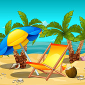 Tropical beach at noon. Lounger under an umbrella, a tropical drink inside the coconut. Sketch for the poster, invitations and other cards. Vector cartoon close-up illustration