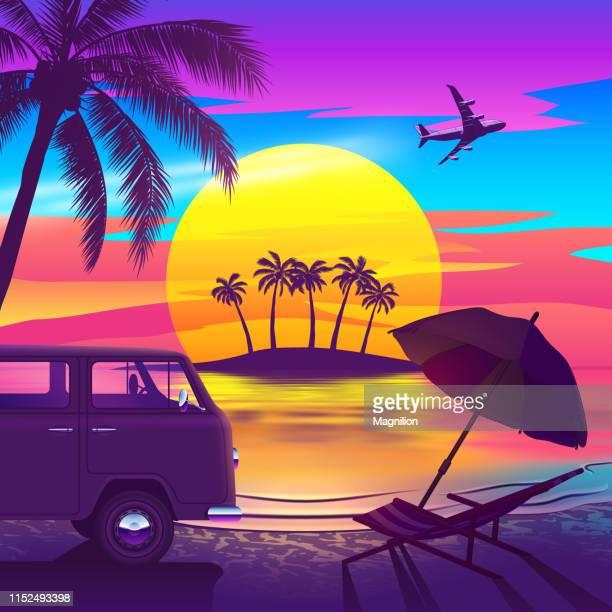 ilustraciones, imágenes clip art, dibujos animados e iconos de stock de playa tropical al atardecer con isla, van y palmera - puesta de sol