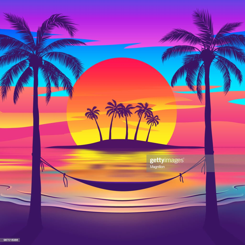 Island Beach Sunset: Tropical Beach At Sunset With Island Vector Art