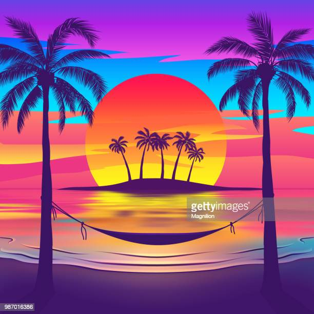 tropical beach at sunset with island - nostalgia stock illustrations