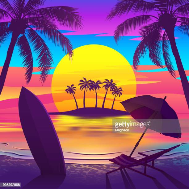 tropical beach at sunset with island - beach stock illustrations