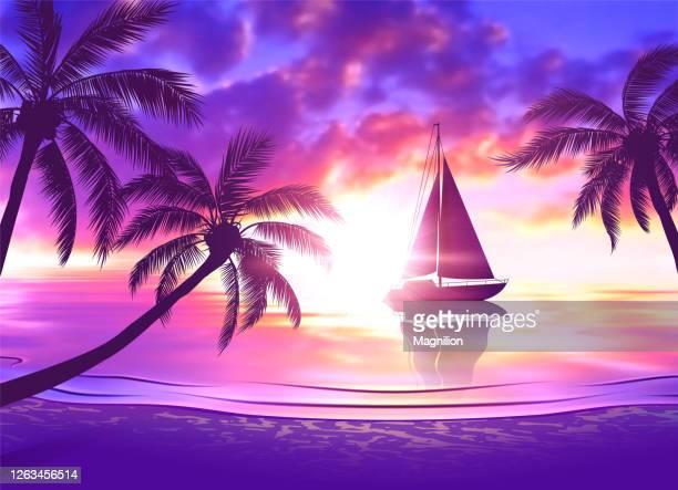 illustrations, cliparts, dessins animés et icônes de plage tropicale au coucher du soleil avec le voilier et les palmiers - ensoleillé