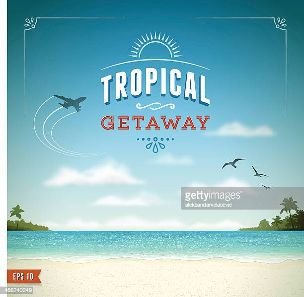 tropical beach background - banner sign stock illustrations