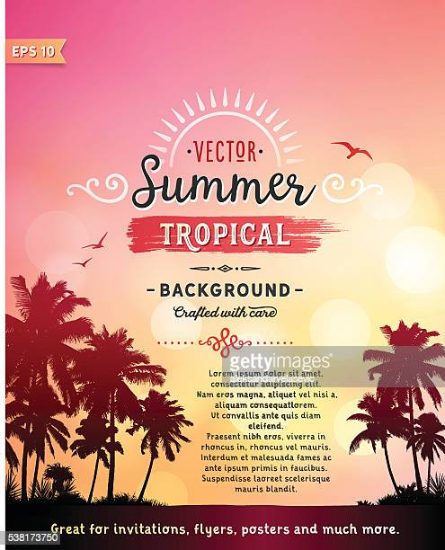 tropical beach background - flyer leaflet stock illustrations