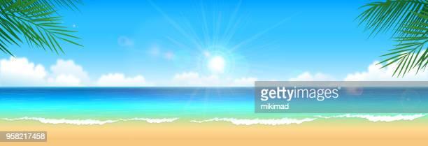 ilustrações, clipart, desenhos animados e ícones de praia tropical fundo - panorâmica