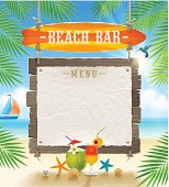 Tropical beach bar signboard and banner for menu