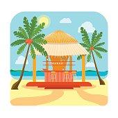 Tropical Beach Bar Summer Holiday or Vacation. Vector