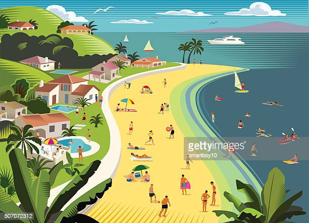 tropical beach holiday with water sports - recreational pursuit stock illustrations, clip art, cartoons, & icons