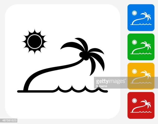 illustrations, cliparts, dessins animés et icônes de icône plage tropicale à la conception graphique - cocotier