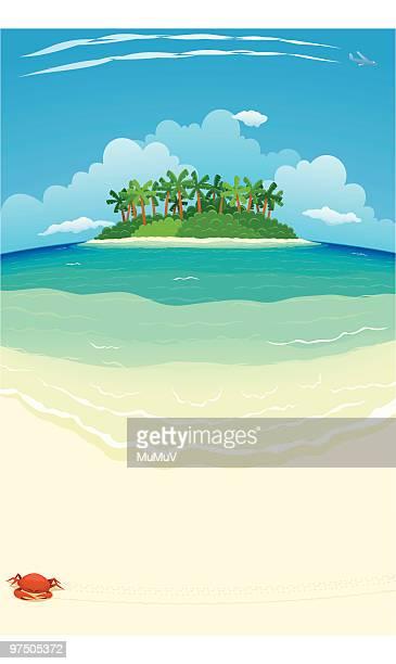 tropical beach & island - remote location stock illustrations