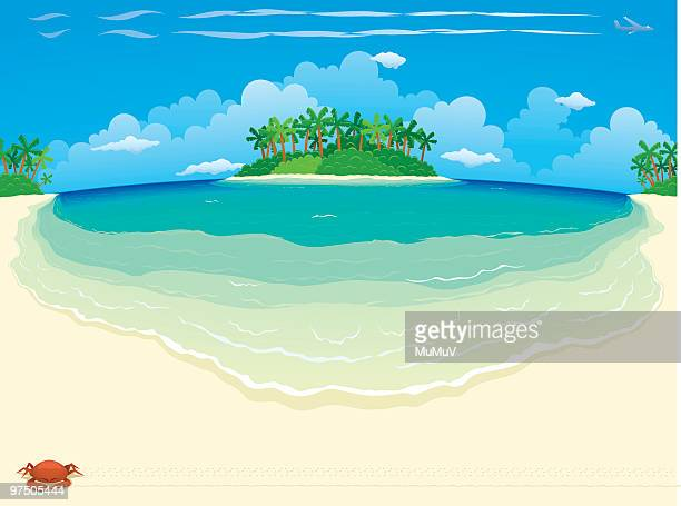 tropical beach & island - wide - water's edge stock illustrations