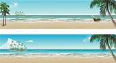 Tropical beach paradise. Vector seaside view posters