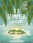 Tropical beach poster, Summer Escape.