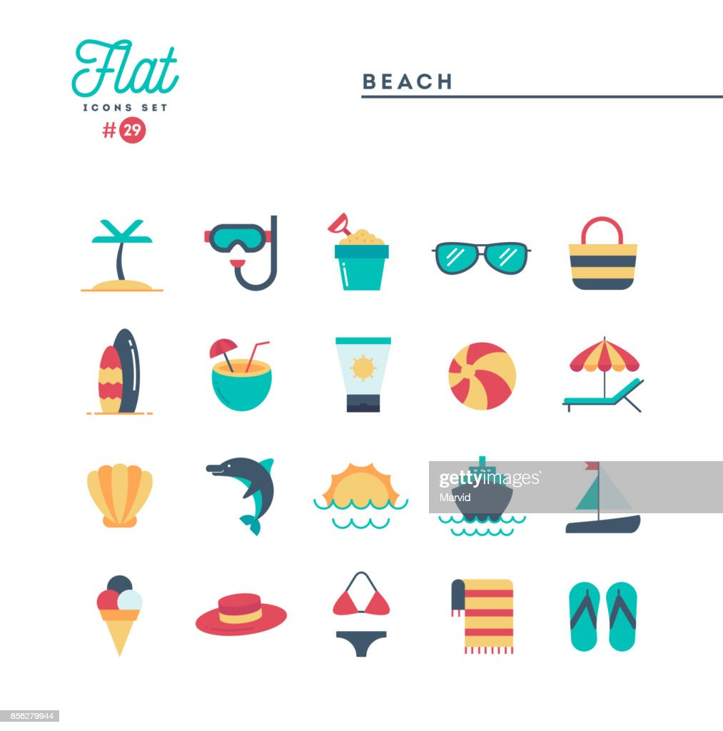 Tropical beach, summer, vacation, cruising and more, flat icons set