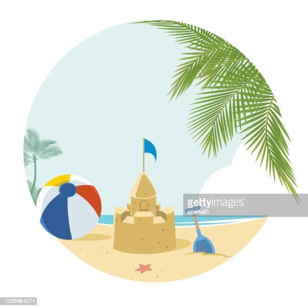 tropical beach - beach holiday stock illustrations, clip art, cartoons, & icons