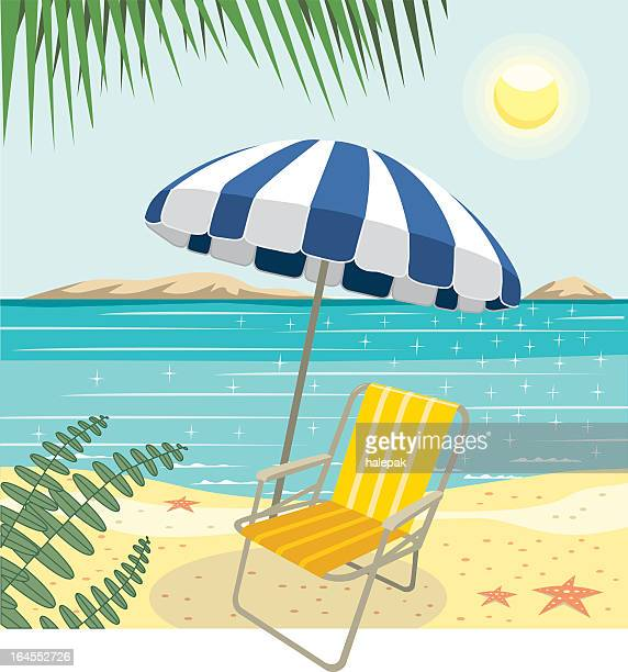 stockillustraties, clipart, cartoons en iconen met tropical beach - strandparasol