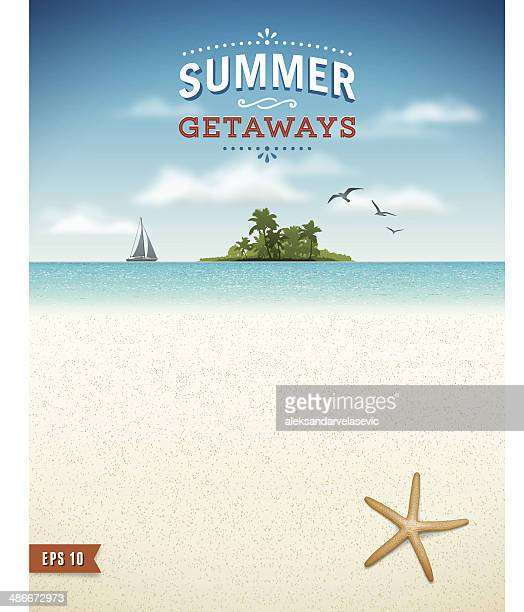 tropical beach with island background - island stock illustrations