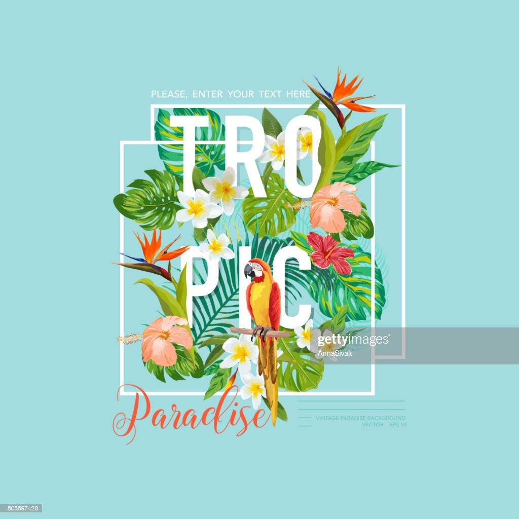 Tropical Bird and Flowers Graphic Design - for t-shirt, fashion