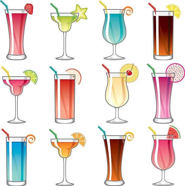 Tropical Cocktail Glass Icons Set Wall Art