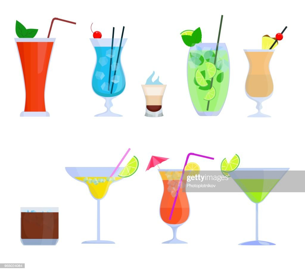 Tropical cocktails, juice, drink glass set isolated on white background. Alcoholic cocktails Bloody Mary, Mojito, Pina Colada, Margarita and etc. Vector illustration in flat style
