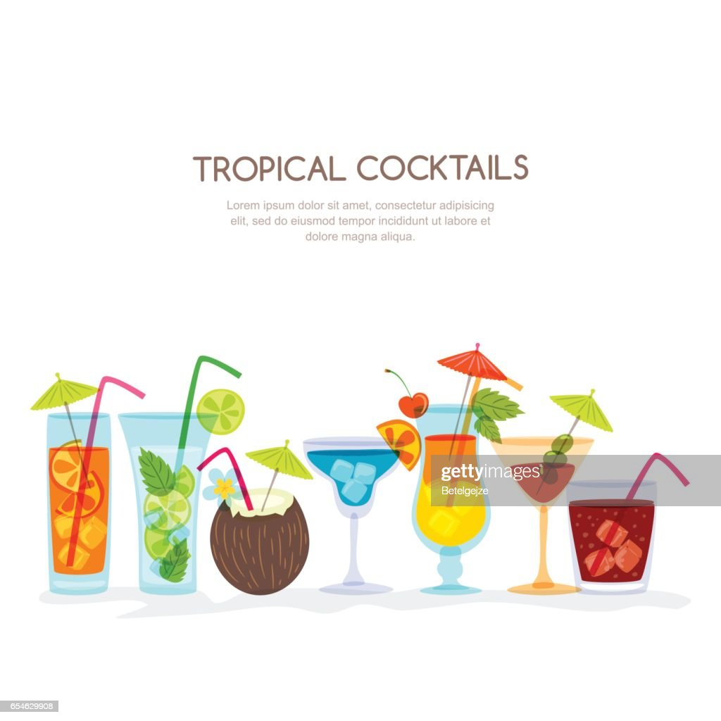 Tropical cocktails set, vector hand drawn illustration. Various isolated cocktail glass with beverages.
