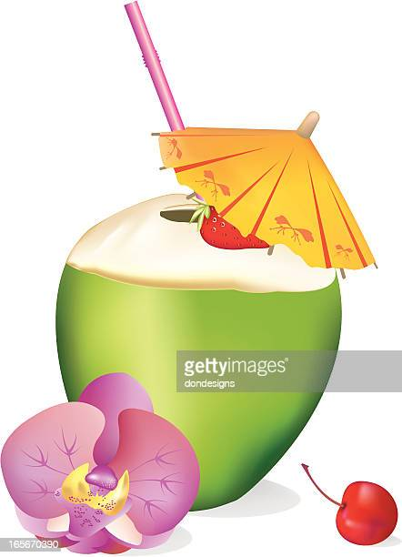 tropical coconut drink - coconut milk stock illustrations, clip art, cartoons, & icons