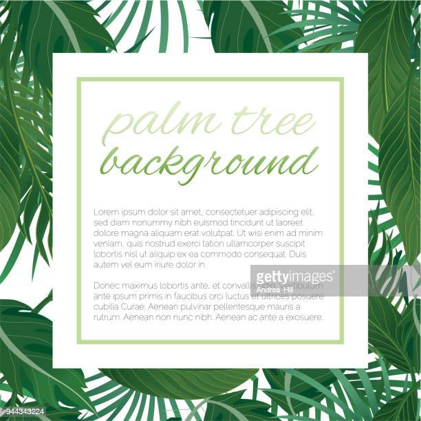 tropical design template with copy space for text - nature flower / leaf seamless pattern in background - coconut leaf stock illustrations, clip art, cartoons, & icons