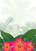 Tropical Design Template with Copy Space for Text - Nature Flower / Leaf Seamless Pattern in Background
