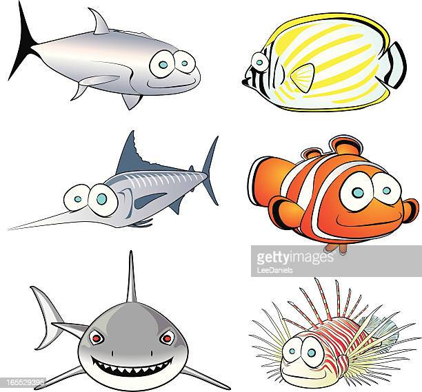 tropical fish collection - animal spine stock illustrations, clip art, cartoons, & icons