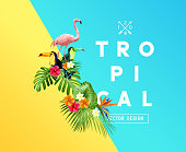 Tropical Floral Design Elements