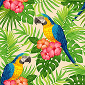 Tropical floral pattern with parrots