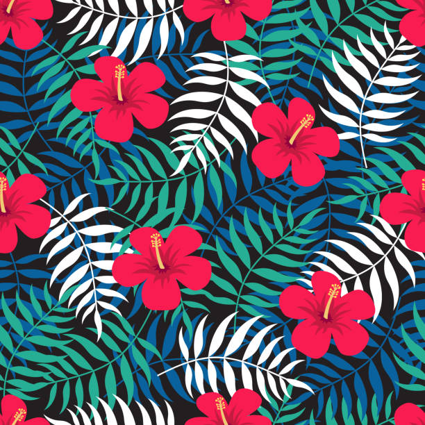 Tropical floral seamless pattern with exotic leaves and red flowers of hibiscus.